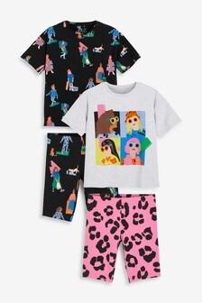 Mädchen Pyjamas mit Radlershorts und kastiges T-Shirt im2er-Pack (3-16yrs)