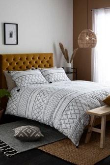 Set mit Bettbezug und Kissenbezug mit Quasten, Monochrom