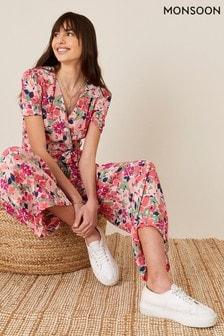 Monsoon Pink Monica Floral Wrap Jumpsuit (701855)   $104