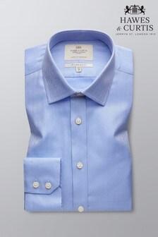Camisa de corte slim en azul con puño sencillo y diseño de espiga de Hawes and Curtis