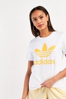 adidas Originals White / Yellow Trefoil T-Shirt