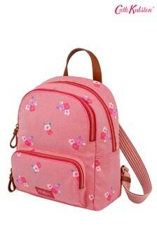Petit sac à dos Cath Kidston Brampton rouge motif pensées en sergé avec poche