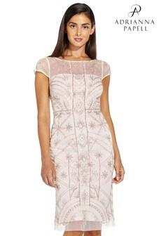 שמלה צמודה של Adrianna Papell מדגם Illusion עם חרוזיםבצבע ורוד