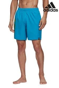adidas Blue 3 Stripe Swim Shorts