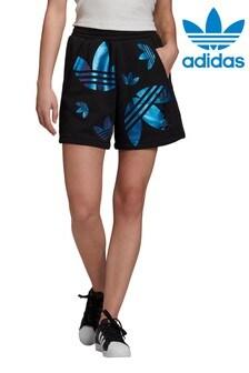 מכנסיים קצרים שלadidasOriginals בצבע שחור/כחול עם הדפס לוגו