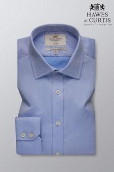 Camisa en sarga de corte slim sin planchado con puños sencillos de Hawes & Curtis