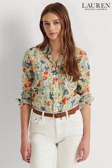 חולצה פרחונית של Lauren Ralph Lauren® דגם Courtenay בצבע שמנת