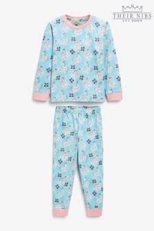 Their Nibs Girls Blue Unicorn Print Slim Fit Pyjamas Set