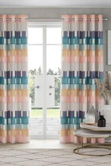 Skandi Block Print Eyelet Lined Curtains