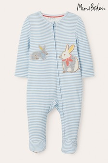 Boden blauwe babypyjama van biologisch katoen met rits