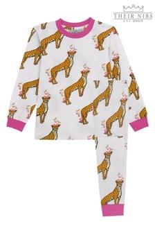 Their Nibs Mädchen Pyjama-Set in schmaler Passform mit Blumen- und Gepardenaufdruck, Weiß