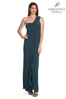 Niebieska suknia dżersejowa Adrianna Papell z odkrytym ramieniem