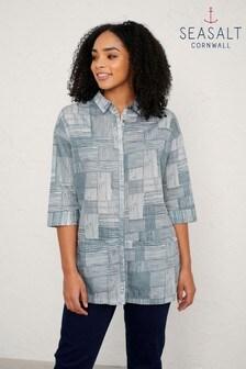 חולצה של Seasalt Cornwall דגם Dark Iron Ethereal בהדפס משבצות אפור