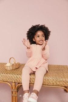 Set sport cu bluză din tricot cu peplum și mânecă lungă (3 luni - 7 ani)