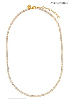 Accessorize Clear Sparkle Tennis Necklace