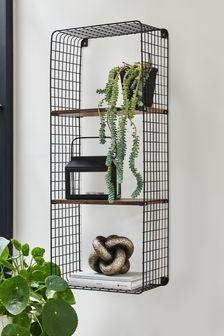 Salvage Wood And Metal Shelf