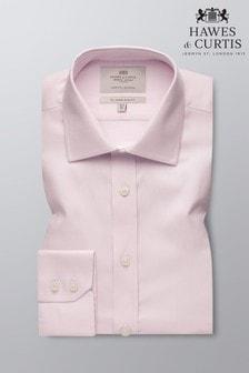 Camisa rosa entallada con puño sencillo en tejido Interest de Hawes & Curtis