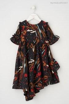Angel & Rocket Bedrucktes Kleid mit Rüschen, Schwarz