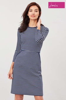 Joules Blue Emilie 3/4 Sleeve Jersey Dress