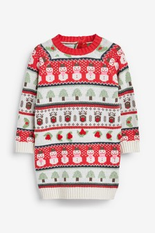 Платье-джемпер со снеговиками (3 мес.-7 лет)
