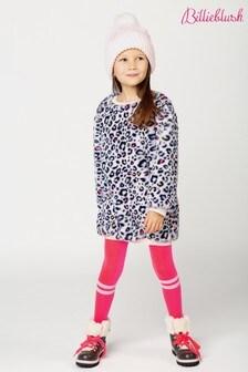 Billieblush Pink Leopard Faux Fur Sweat Dress