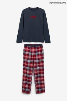 Emporio Armani Navy/Red Check Pyjama Set
