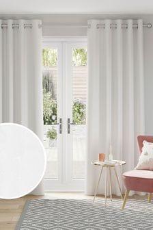 White Soft Velour Eyelet Blackout/Thermal Curtains