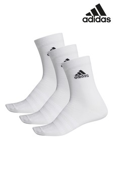 adidas Adult White Lightweight Crew Socks Three Pack