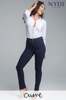 Modré formujúce slim džínsy rovného strihu NYDJ Curves 360