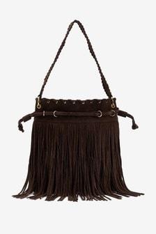 Кожаная сумка с бахромой
