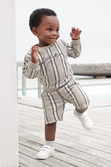 Vertical Stripe Crew And Shorts Set (3mths-7yrs)