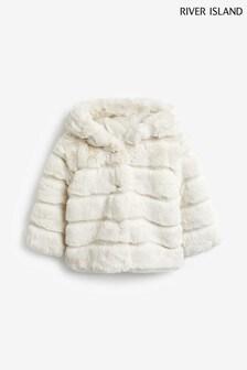River Island Cream Faux Fur Coat With Hood