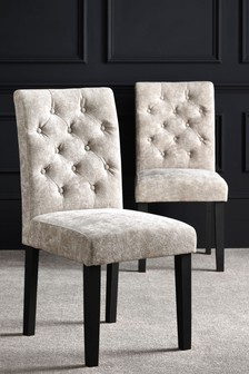 Set Of 2 Moda II Button Dining Chairs With Black Legs