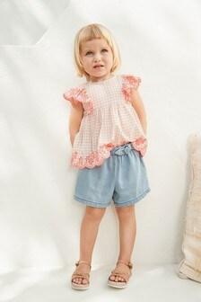 Блузка в клеточку с вышивкой ришелье  (3 мес.-7 лет)