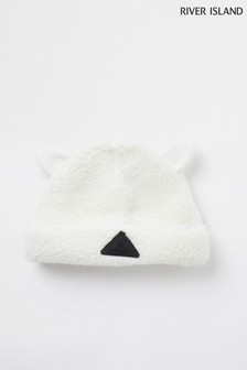 River Island Cream Mb Teddy Borg Beanie
