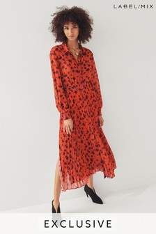Платье-рубашка с принтом и плиссировкой Next/Mix