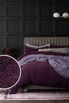 Plum Teddy Fleece Duvet Cover and Pillowcase Set