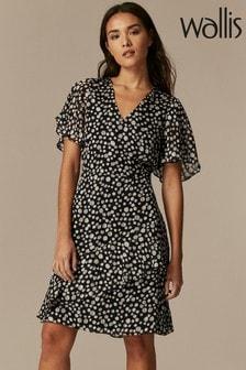 Wallis Black Spot Ruffle Dress