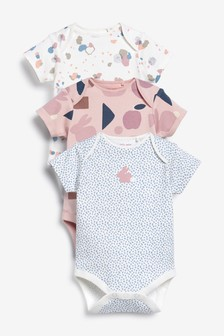 3 Pack Short Sleeve Bodysuits (0mths-3yrs)