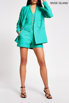 מכנסיים קצרים עם כפתורים דגם Turn-Upבצבע ירוק שלRiver Island