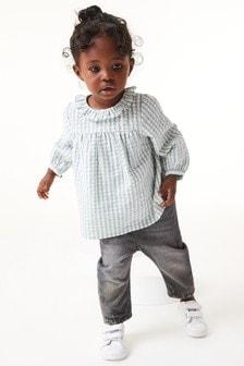 Хлопковая блузка с оборкой по краю воротника (3 мес.-7 лет)