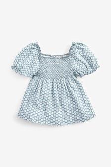 褶飾泡泡袖上衣 (3個月至7歲)