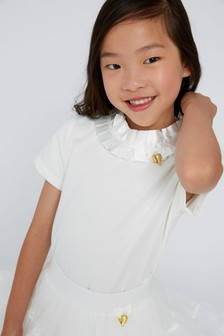 Angel's Face White Jane Pleated Collar Top