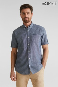 Esprit Blue Cotton Linen Chambray Regular Fit Shirt