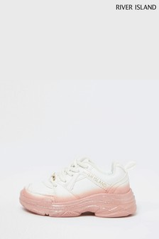 River Island White Mg Ombre Chunky Trainers