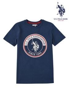 Niebieska koszulka U.S. Polo Assn. z nadrukiem