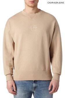 Calvin Klein Jeans Cream Acid Wash Sweatshirt
