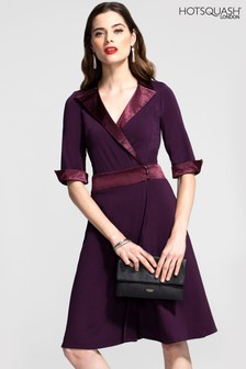 HotSquash Fit And Flare Wrap Dress With Silky Trim