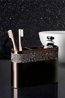 Harper Smoked Diamanté Toothbrush Holder