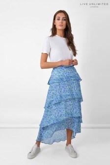 חצאית קומות פרחונית כחולה שלRo&Zo
